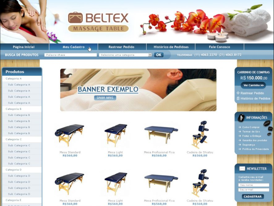 Criação de sites para empresa de equipamentos terapêuticos