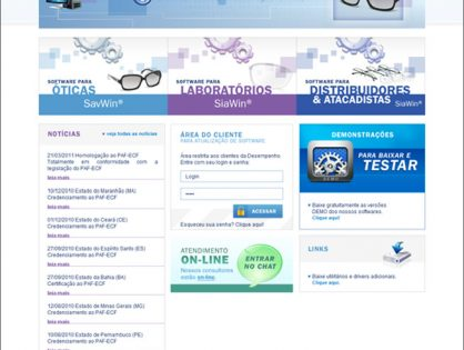 Criação de sites para software de gestão de Óticas