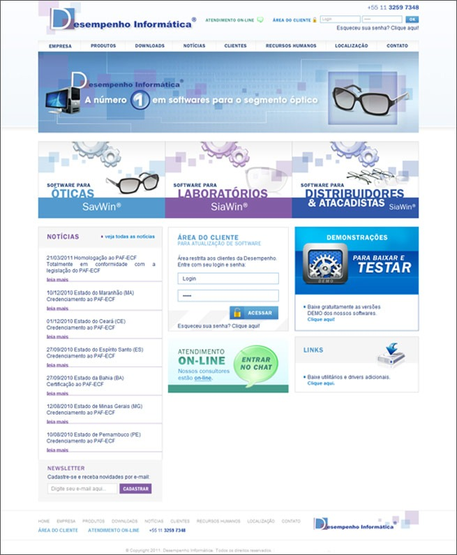 criação de sites para software gestão de óticas