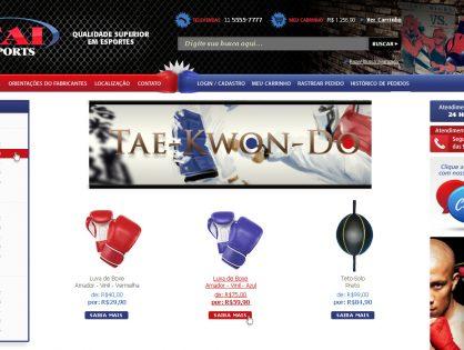 Criação da Loja Virtual de artigos para artes marciais da TAI SPORTS